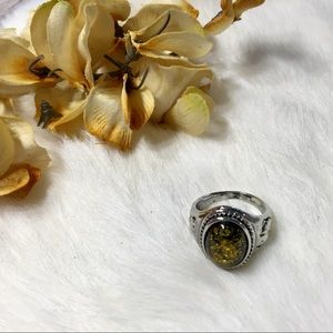 Jewelry - Silver Ring w/Green Amber Stone